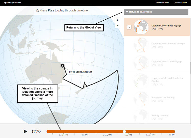 View of a voyage in isolation on the interactive map