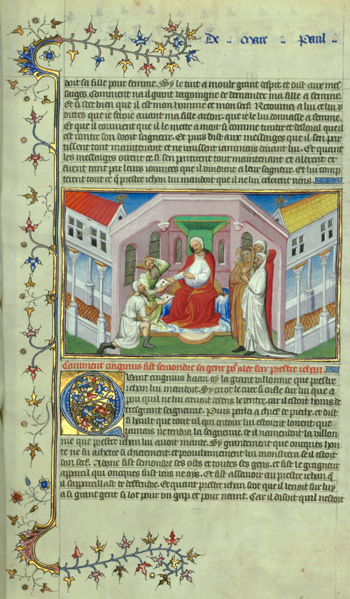 Illumination of a man meeting with messengers, from Le Livre des Merveilles.